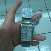 Jam tangan pria analog Alba (vj42-x113) stainless steel segi empat