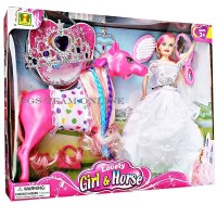 BEST SELLER MAINAN ANAK BONEKA BARBIE FROZEN LOVELY GIRL AND HORSE 66
