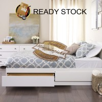 Dipan Laci Putih Single Bed / Ranjang Laci Putih Single