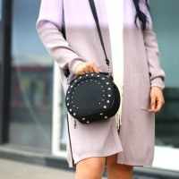 tas selempang hitam kecil ada tali panjang unik studded wanita branded
