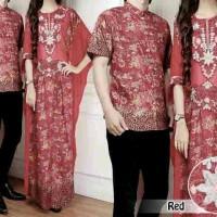 Wanita 10507 Couple Kaftan Batik Red Merah Hycon Batik Mix Sifon Polos