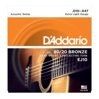 D Addario EJ10 - 80/20 Bronze Acoustic Guitar Strings Extra Light