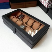 Tempat|Wadah| Kotak|Box Jam Tangan Isi 12 Hitam-Coklat