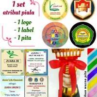 1 set atribut pelengkap piala/trophy (1 logo, 1 label, 1 pita)