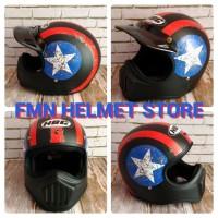 Helm Cakil HBC Captain Amerika Hitam Bintang