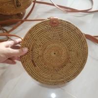 Jual Tas rotan 20cm bulat motif star klip/murah/handmade/lombok asli Murah
