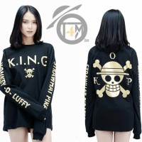 Kaos Lengan Panjang Anime One Piece LUFFY KING Baju Tshirt Long Sleeve