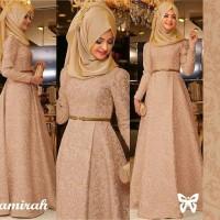 Jual Zamirah Mocca busana Muslim Pesta gamis hijab maxi dress Murah