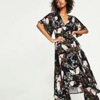 Gaun Long Dress Pesta Black Flowery Art (M) Import Original