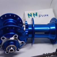 Hub Freehub Novatec D041sb D042sb 32H 6 bolt QR warna Biru