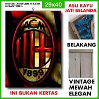 Poster AC Milan 14 ACM14 Kayu Vintage Asli Dinding Rumah/kafe