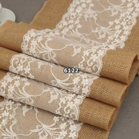 Jual Taplak Meja Table Runner Burlap Lace Vintage Decor Kain Goni Import1 Murah