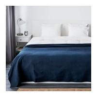 Ikea Indira Penutup Tempat Tidur Katun Biru Tua 250x250cm Bedspread