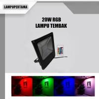 LAMPU SOROT LED TEMBAK 20W OUTDOOR  TAMAN FLOOD LIGHT RGB
