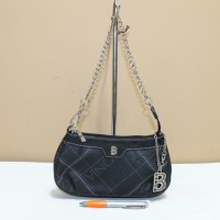 Tas branded BONIA B351 Black pvc chain shoulder bag second ori asli
