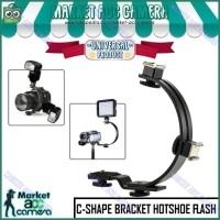 Metal C-Shape 2 Hot Shoe Mount Bracket Stand for Camera Flash LED