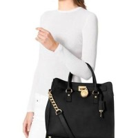 michael kors hamilton large saffiano leather tote black
