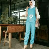 Setelan Atasan / Blouse dan Celana Kulot Batik Wanita Model Tali C007