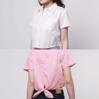 HKJ Basic Crop Skirt Kemeja Wanita Kerah Lengan Pendek Crop CBL188 IU