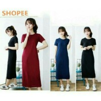 Long Dress Elsa Plain Spandex Maxi Maroon Navy Black