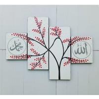 lukisan minimalis panel kaligrafi merah dan putih - nisashop14