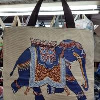 Tas Motif Unik Import Tote Bag Shoulder Bahan Kain Tenun
