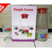 PURPLE CROWN SATU SET TEKO KACA DAN GELAS