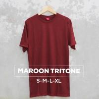 Jual Baju Kaos Polos Oblong Bandung MAROON TRITONE Merah Marun Cewek Cowok Murah