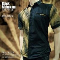SERAGAM BATIK | Hitam Emas EX-055 | Batik Seragam Kantor | Batik Kerja