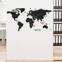 Wall Cutting Sticker World Map Peta Dunia Stiker Dinding Rumah Kantor
