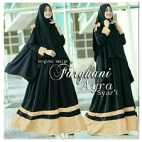 busana muslim gamis maxi pashmina hijab jilbab bergo warna hitam