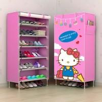 (Diskon) R06 NEW Rak Sepatu Kain Lemari SEPATu 6 Ruang HELLO KITTY HK