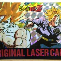 1992 Dragon Ball Z Original Laser Card Goku & Trunks SS HARD PRISM !