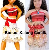 Baju Dress Kostum Disney Moana + Kalung Cantik (1 set)