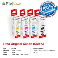 Tinta Printer Canon GI-790 G1000 G20000 G3000 Original 1 SET CMYK