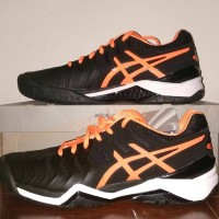 asics Gel Resolution 7 Black/Orange Sepatu Tenis/Tennis Original 2017