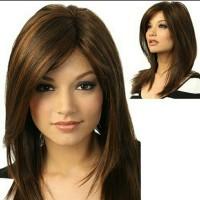 Wig Rambut Palsu Wanita Warna Coklat Gelap Model Poni Import