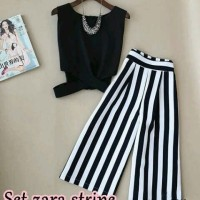 Fashion Grosir Ecer stelan Zara stripe (3warna) supplier online