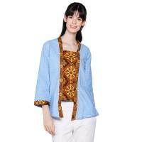 Atasan Blus Wanita Model Kebaya Kutubaru Embos Kombinasi Batik - Biru