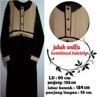 gamis / jubah akhwat bahan Wolfis jetblack