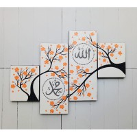 lukisan kaligrafi minimalis panel bunga sakura orange  DOT SD-ORANGE