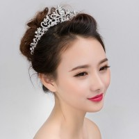 Mahkota Wedding Crown Headpiece pengantin princess MK 02 Silver