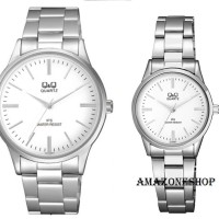 Jam Tangan Couple Original Q&Q QQ QnQ Stainless Steel White Dial