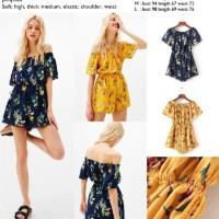 Jual 44752 - Black,Yellow Lily Flower (S,M,L) - Jumpsuit le071217 import Murah
