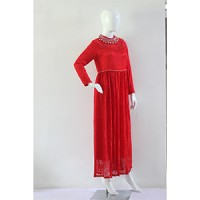 Gamis muslim mewah merah/ dress muslimah brokat