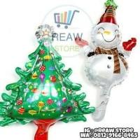 Balon Foil Pohon Natal & Snow Man Mini / Set Foil Christmas Tree