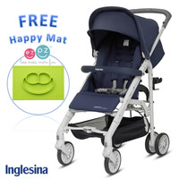 Inglesina Zippy Light Stroller Ocean Blue Free EZPZ Happy Mat Lime