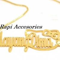 Harga kalung nama couple helllo kitty warna emas perhiasan | Pembandingharga.com