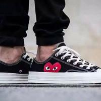 Converse X Comme Des Garcons Play Low Black Sepatu Pria Wanita PREMIUM