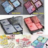 Traveling bag isi 6 pcs/ Bag Organizer Traveler/ Bag Motif Warna 1set